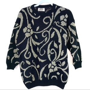 Vintage 80s black and gold floral sweater